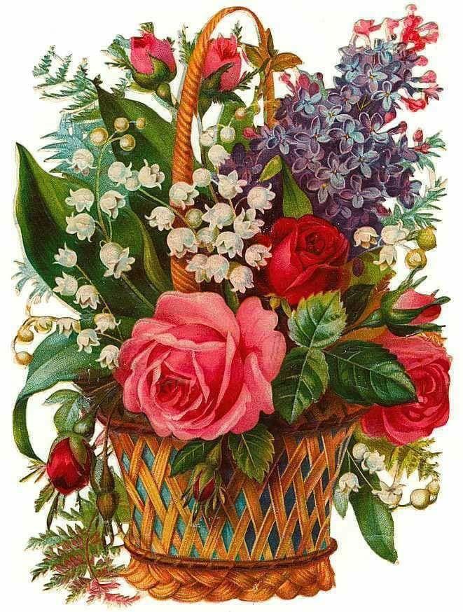 Старые открытки цветов, поздравление