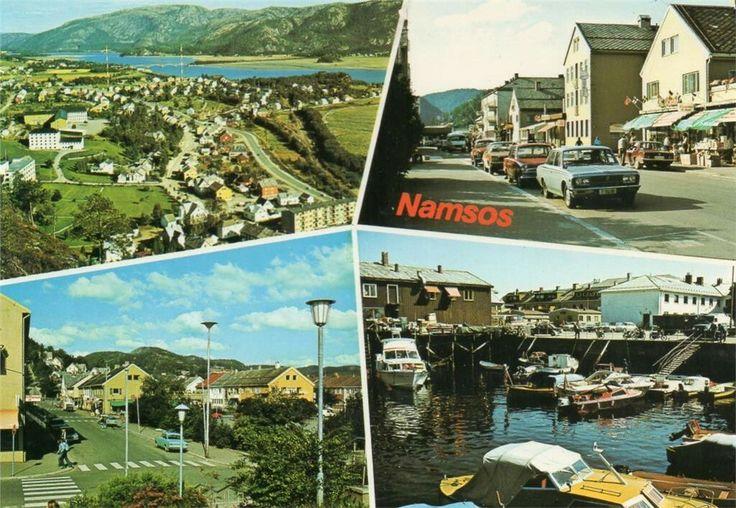 Namsos i Nord-Trøndelag. Fire-delt kort 1970-tallet