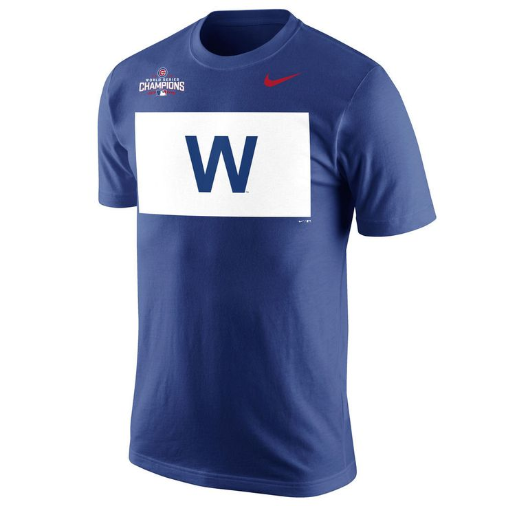 Chicago Cubs Royal 2016 World Series Champions Celebration W Flag T-Shirt by Nike  #ChicagoCubs #Cubs #FlyTheW #WorldSeries SportsWorldChicago.com