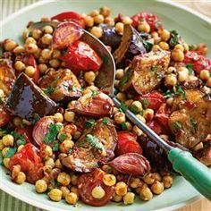 Moroccan vegetables and chickpeas - aubergine, small vine tomatoes, garlic, cumin seeds, balsamic vinegar, can chickpeas, fresh parsley
