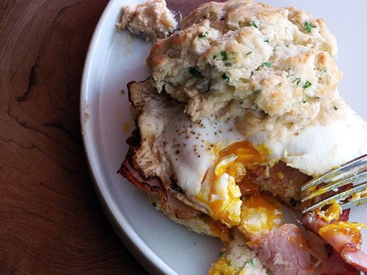 Breakfast Sandwich with Bacon Recipe | Chive Biscuit Sandwich with Cheddar Spread, Canadian Bacon, and a ...