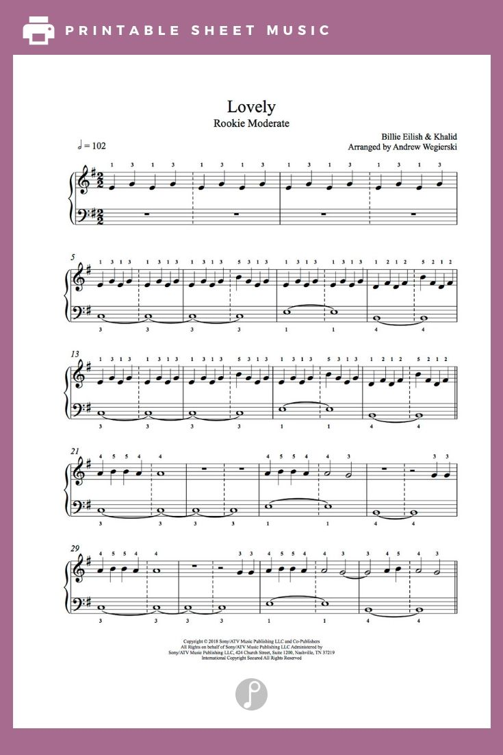 836748dbbac Lovely by Billie Eilish feat Khalid Piano Sheet Music | Rookie Level ...