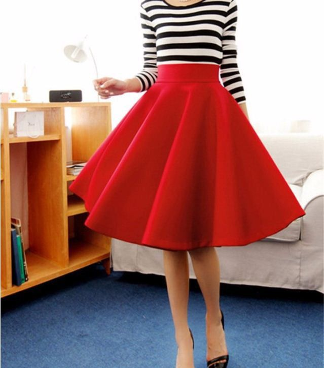 Flared Pleated Umbrella Women Midi Skirts