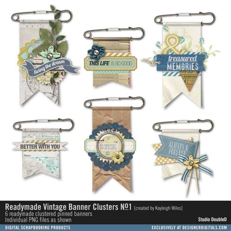 Readymade Vintage Banner Clusters No. 01- Studio Double-D Elements- EL728083- DesignerDigitals