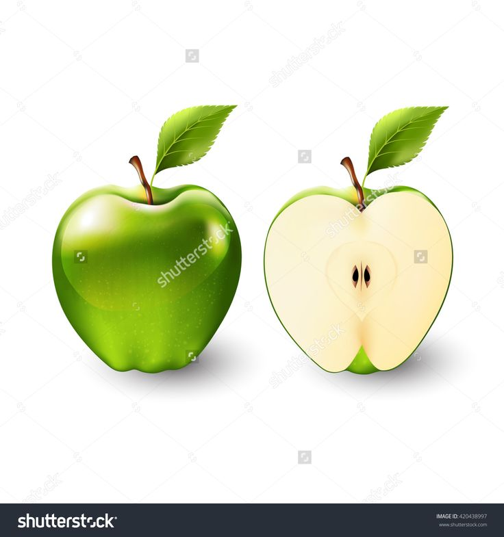 Green apple and a half of apple, fruit, transparent, Vector