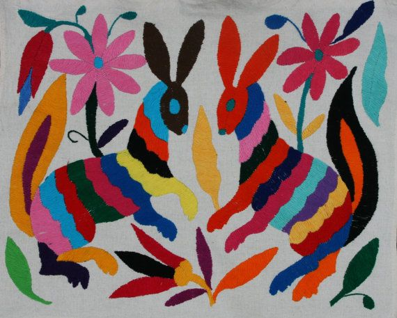 Multi Colored Otomi Fabric piece Super High Quality by ILoveOaxaca, $30.00