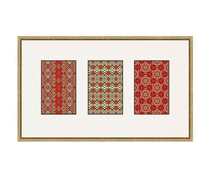 Триптих в раме и паспарту - деревянный багет, 50х30 см | Westwing Интерьер & Дизайн