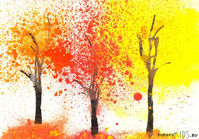 Fall Art - Trees (blowing paint through straws- poke a tiny hole in the straw so they can't suck up paint)
