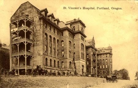 St. Vincent Hospital, 1909 Sisters of Providence established St. Vincent Hospital, the first permanent hospital in Oregon, in 1875, at NW 12th and Marshall. The second St. Vincent Hospital, shown here in 1909, was dedicated in 1895. It was sited on hilly land on NW Westover Rd. between Glisan and Irving Streets.s.