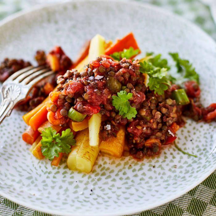 Falsk köttfärssås på belugalinser