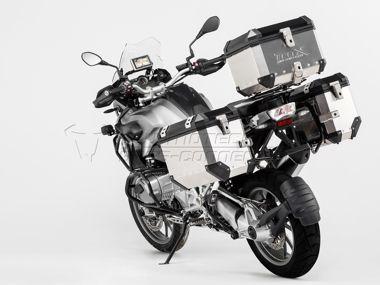 TraX ® EVO Pannier System. Silver. 45/37 L. BMW R 1200 GS (13-)., Item No.: kft.07.784.50000__s