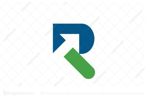 Logo for sale: Letter R With Arrow Logo