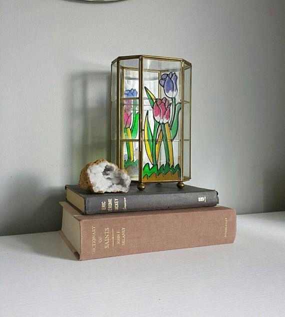 Brass Glass Display, Glass Display Box, Glass Display Case, Jewelry Casket, Brass Box, Curio Box, Glass Jewelry Display Box, Glass Jewelry Box, Glass Curio Box by ShopMidCenturyModest