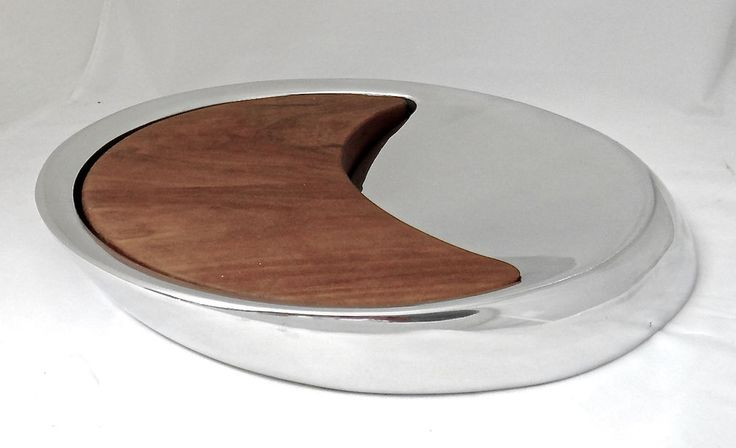 Nambe Peter Stathis Eclipse Cheese Tray 729 Danish Modern Design  2003  Made USA #Notspecified