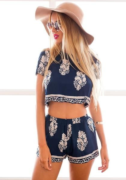 Best Seller // This summer, opt for breezy clothes like this foliage print shorts co-ord set.