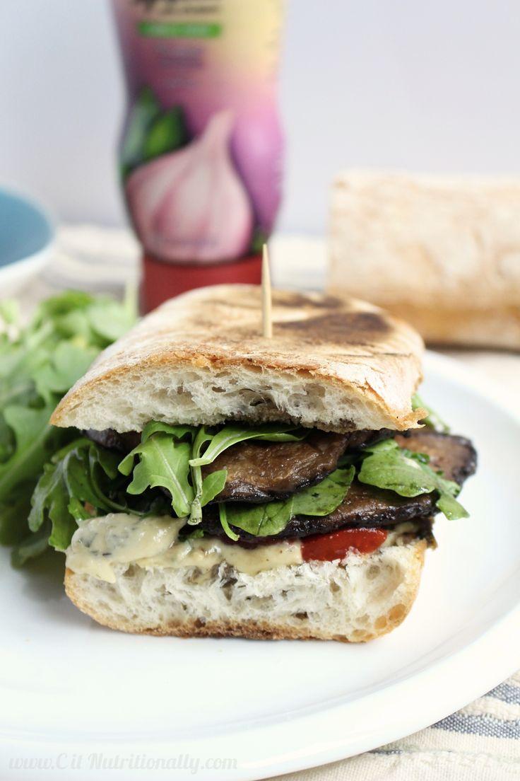 Grilled Portobello Mushroom and Arugula Sandwich with Garlic & Herb ...