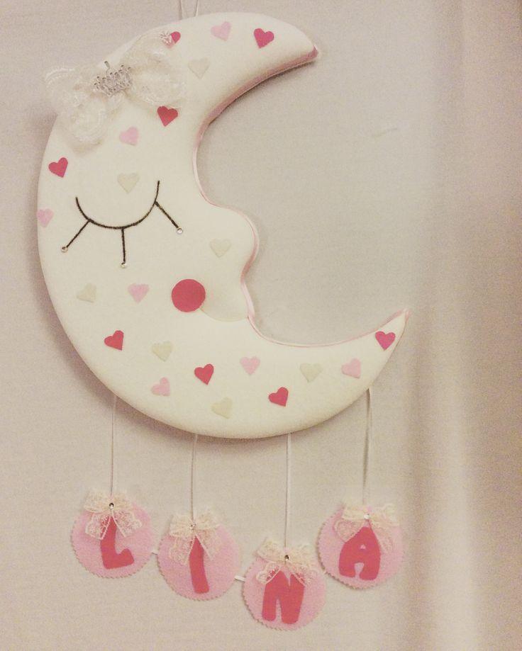Kız bebekler için aydede kapı süsü-Hastane Odası Süslemesi Baby Girl Door Hanger