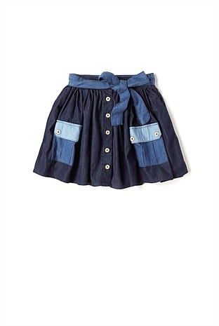denim skirt, so cute with a pair of boots!