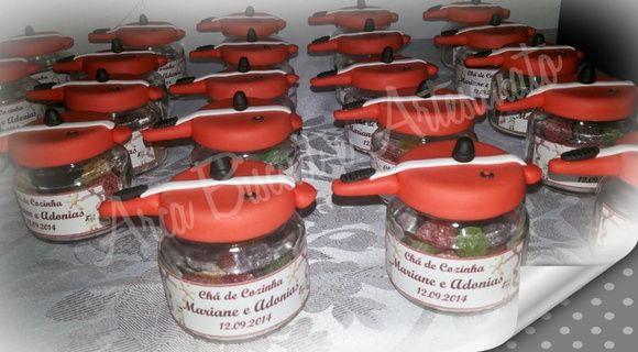 Lembrança de potinho de Panela de Pressão p/ Chá de Cozinha