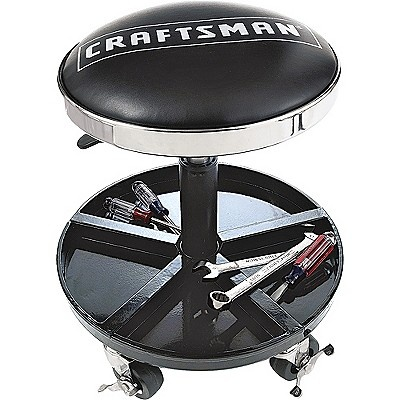 Craftsman adjustable rolling mechanics seat with onboard for Garage seat aubiere