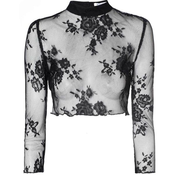 Black Sheer Lace Crop Top (£23) ❤ liked on Polyvore featuring tops, crop tops, long sleeves, shirts, black, black shirt, keyhole crop top, crop shirts, high neck top and long sleeve tops