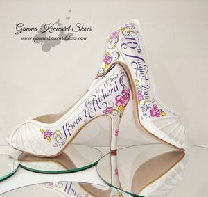 Personalised bridal shoes with hearts and roses