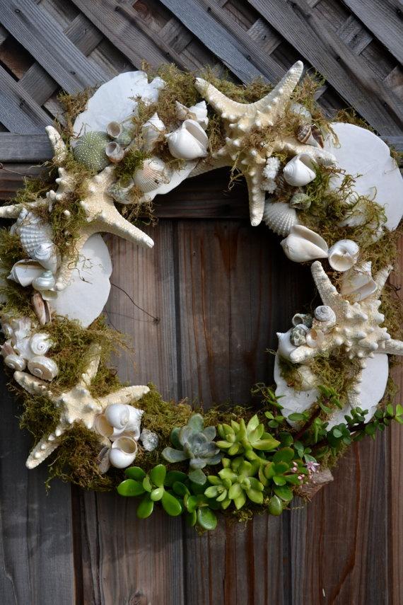 Trestles Shell & Succulent Wreath