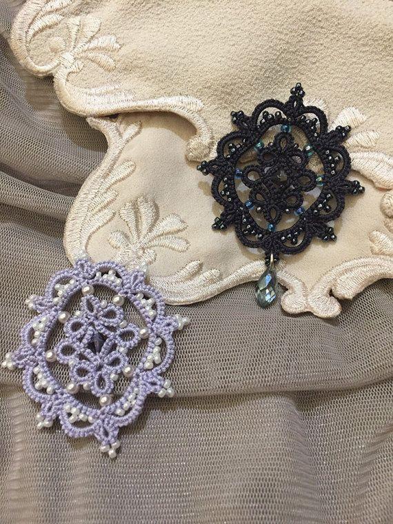 Tatting lace brooch / applique pdf pattern Cameo by TheKimAndI