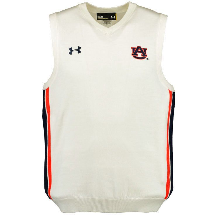 Auburn Tigers Under Armour Football Coaches Sideline Sweater Vest - White - $134.99