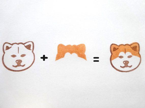 Japanese Akita inu Rubber stamp animal Dog by JapaneseRubberStamps
