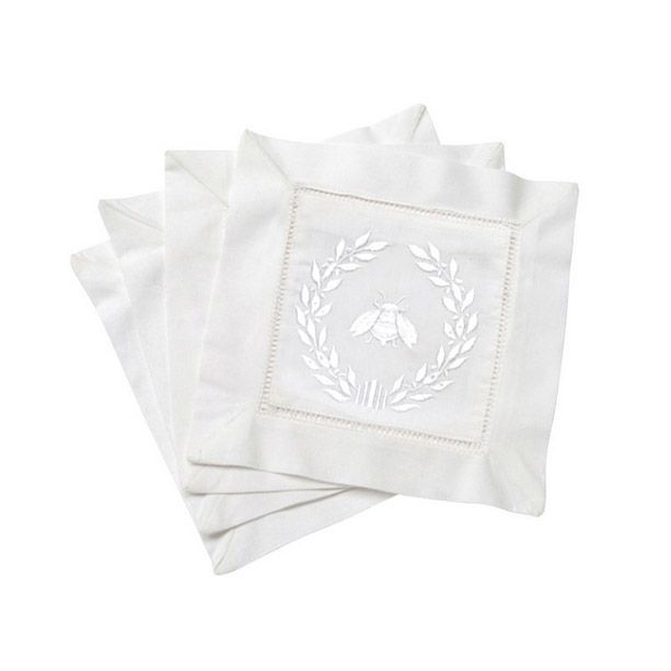 Napolean White Wreath and Bees Cocktail Napkin Beautifully embroidered, a large Napolean wreath on 100% cotton. Classic hem-stiched border completes the design of these cocktail napkins  | | Lip Service Napkins | | cheers to story telling, laugh-sharing & memory-making - Shop Retreat Napkins  Dinner Party | Wedding | Event | Vacation | Relax | Host | Planning | Table Setting | Entertaining
