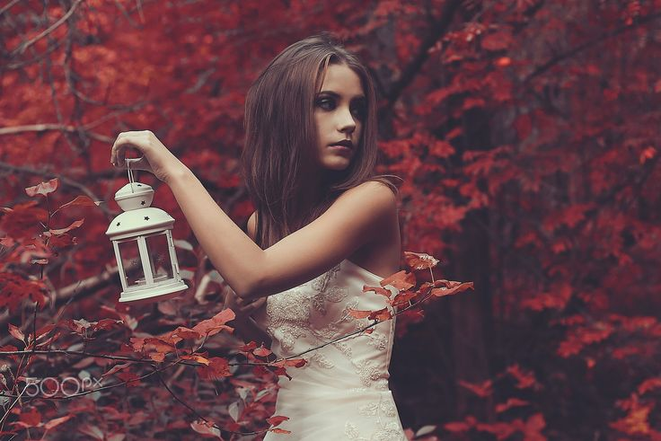 People 2048x1369 women model long hair brunette face depth of field Xenia Kokoreva dress women outdoors makeup fall