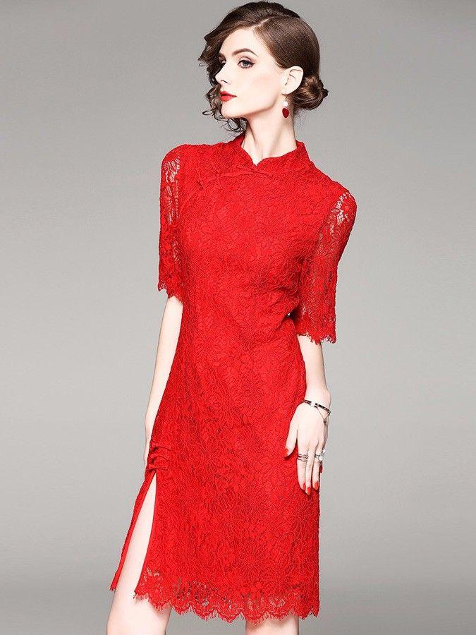 Red Lace Half Sleeve Qipao / Cheongsam Party Dress
