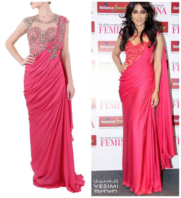 BUY THIS OUTFIT: Chitrangada Singh looks elegant in this gorgeous red embroidered  sari-gown by Sonaakshi Raaj. Shop at www.vesimi.com...online portal coming soon. #chic  #embroidered #elegant #sarigown #designer #label #SonaakshiRaaj #musthave #celebstyle #funshopping #bollyfashion #VESIMI
