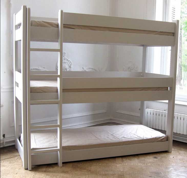 Remarkable Little Boys Bedroom Decors With White Wooden Custom Triple Bunk Bed With Stairs Added White Wall Color Painted Schemes