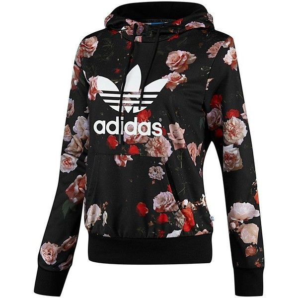 Adidas Logo Hooded Sweatshirt (1.485 CZK) ❤ liked on Polyvore featuring tops, hoodies, sweaters, jackets, outerwear, black, drawstring hoodie, patterned hoodies, all over print hoodies and print hoodies