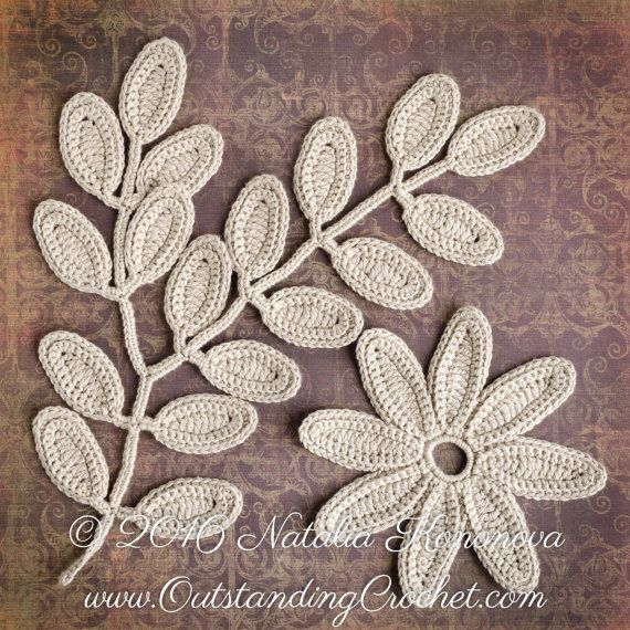 Irish Crochet Flower and Leaf Embellishment Applique Motifs. Embellish any garment with these beautiful Irish Crochet motifs or use these motifs as part of Irish Crochet project. Frame to create a lovely decoration for your house.  *This is a crochet pattern and not the finished item*  *************** Skill level: Easy / Intermediate.  *************** Stitches: ch (chain), sc (single crochet), sl st (slip stitch), hdc (half double crochet), dc (double crochet), tr (treble crochet)…