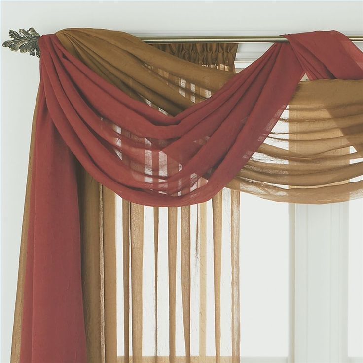 "Scarf Valance Ideas - pulling ideas for bedroom curtains - I'm interested in doing a swag but the fabric I've selected in a printed sheer could use some more ""dressing up"" ... Perhaps a double swag like this, in a different fabric, to give it a bit more weight and color +++++++++++++++++ readtodo.info #curtain #swag #scarf"