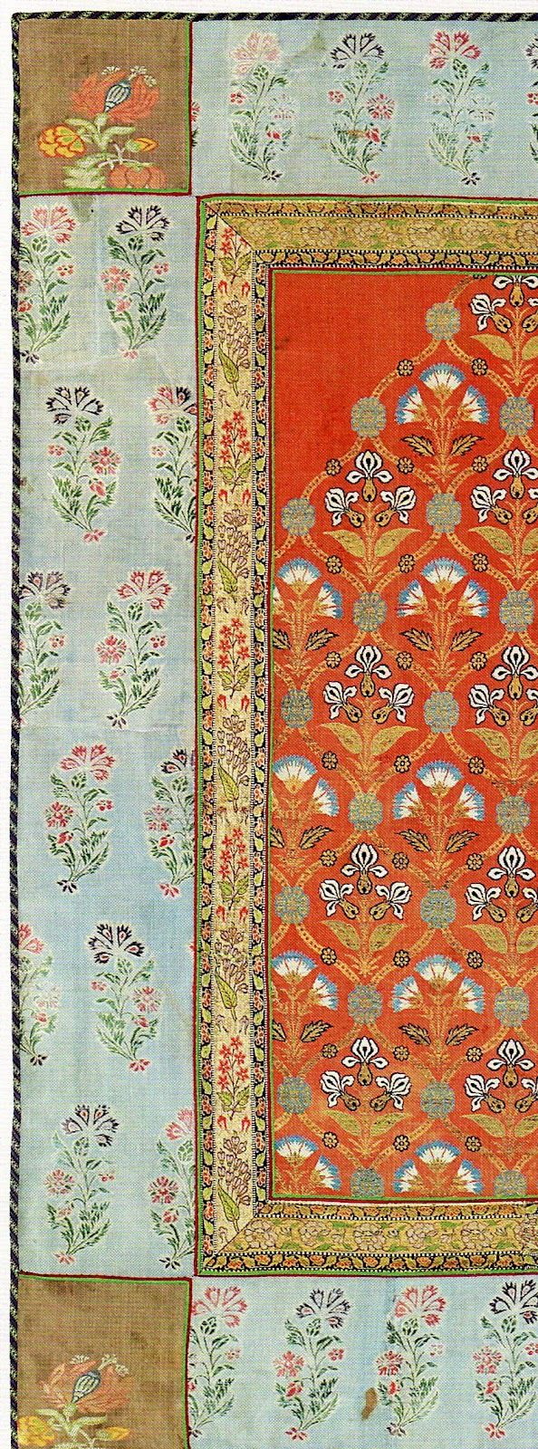 Above, a detail from a silk cover with metallic-wrapped threads. Believed to be 18th century North Indian. Collection of The Textile Museum and included in The Sultan's Garden: The Blossoming of Ottoman Art.