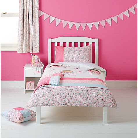 Buy little home at John Lewis Little Fairy Fairy and Hearts Single Duvet Cover and Pillowcase Set Online at johnlewis.com