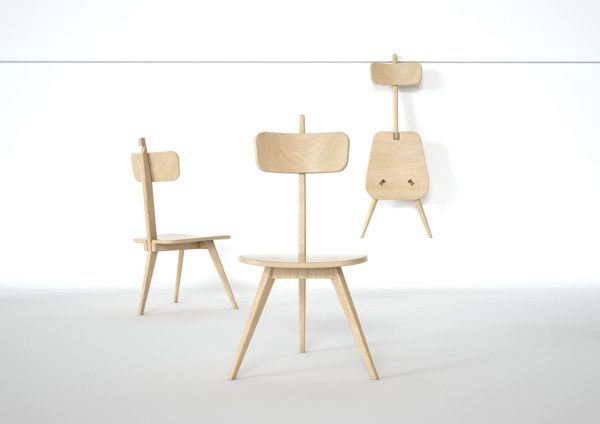 A Three Legged Chair That Neatly Folds Flat Wooden