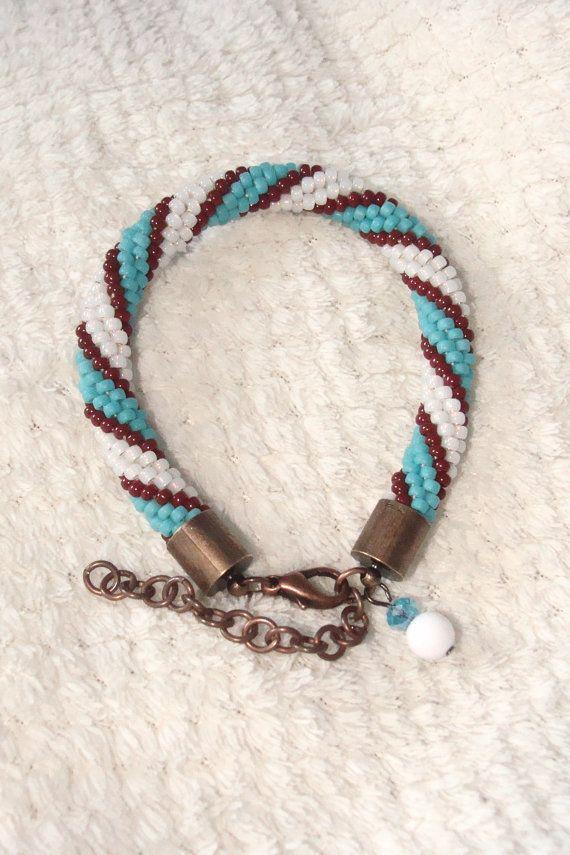 Beaded Crochet Rope Bracelet Blue Brown White  IneseLoft