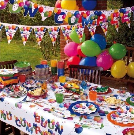 Linea #party #buoncompleanno, piatti, bicchieri, tovaglioli, bandierine e tanto altro per arredare il tuo #compleanno. Molto indicato da abbinare al tinta unita.