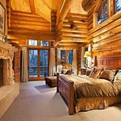 log cabin master bedroom.  hey mom, look it's my bob timberlake bed!