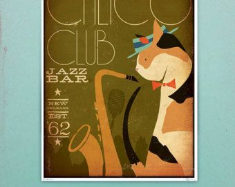 Black Cat Piano Jazz Bar artwork original graphic illustration