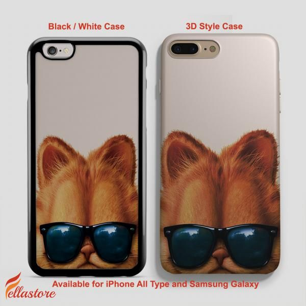 beautiful Garfield Cat Glasses iPhone 7-7 Plus Case, iPhone 6-6S Plus, iPhone 5 5S SE, Samsung Galaxy S8 S7 S6 Cases and Other