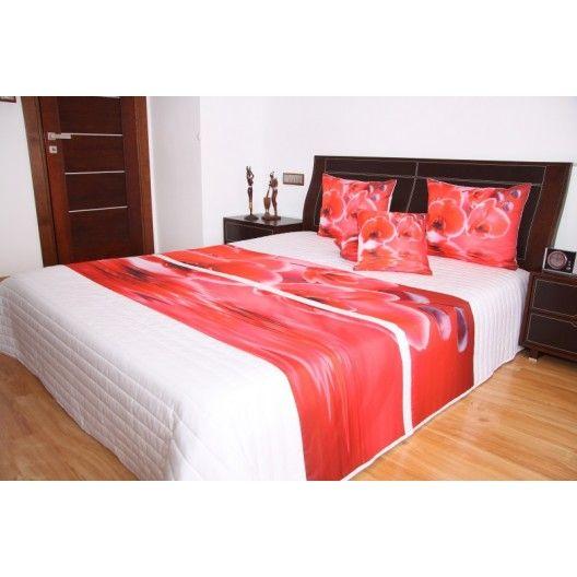 Přehoz na postel bílé barvy s motivem červených orchidejí - dumdekorace.cz