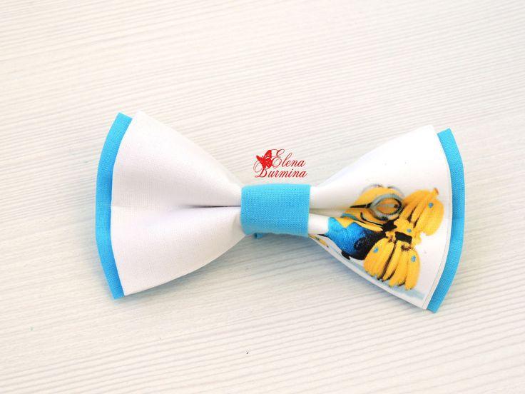 Купить Бабочка галстук миньон с бананами, хлопок - голубой, рисунок, картинка, миньон, банан, бананы