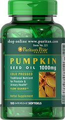 Pumpkin Seed Oil 1000 mg / 100 Softgels / Item #000221      Buy 1 Get 2 Free  3 for $8.99      Benefits : Hair, Prostate