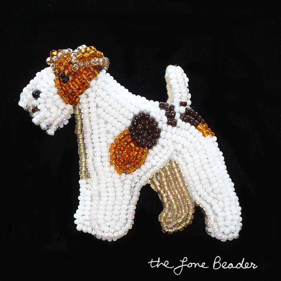 Beaded WIRE FOX TERRIER dog art pin/ pendant w/ by thelonebeader, $95.00